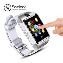 Samload Q18 Bluetooth Relógio Inteligente com Tela Sensível Ao Toque Câmera Relógio de Pulso Inteligente Telefone Celular com Slot Para Cartão Sim para IOS Android telefone