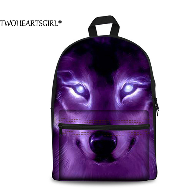 TWOHEARTSGIRL Classic Wolf 3D Printing Canvas Backpack Boys Cool School  Student Back Bag Travel Rucksack Bagpacks Street Escolar c67c282e3ad94