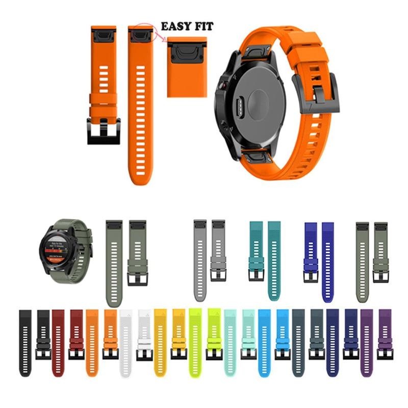 JKER 26 22 20mm Bracelet Bracelet pour Garmin Fenix 5X5 5S Plus 3 3HR D2 S60 Montre libération rapide Silicone Easyfit Poignet de Courroie De Bande
