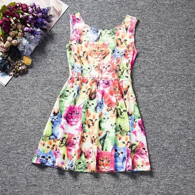 43aee3f01b01e Filles automne robe chat de bande dessinée chien lapins de bonbons robe  costumes enfant fille vêtements