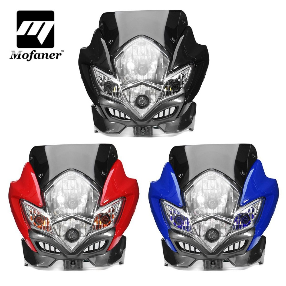 Universal Motorcycle Street Fighter Headlight Motorbike Fairing Head Lamp BikeUniversal Motorcycle Street Fighter Headlight Motorbike Fairing Head Lamp Bike