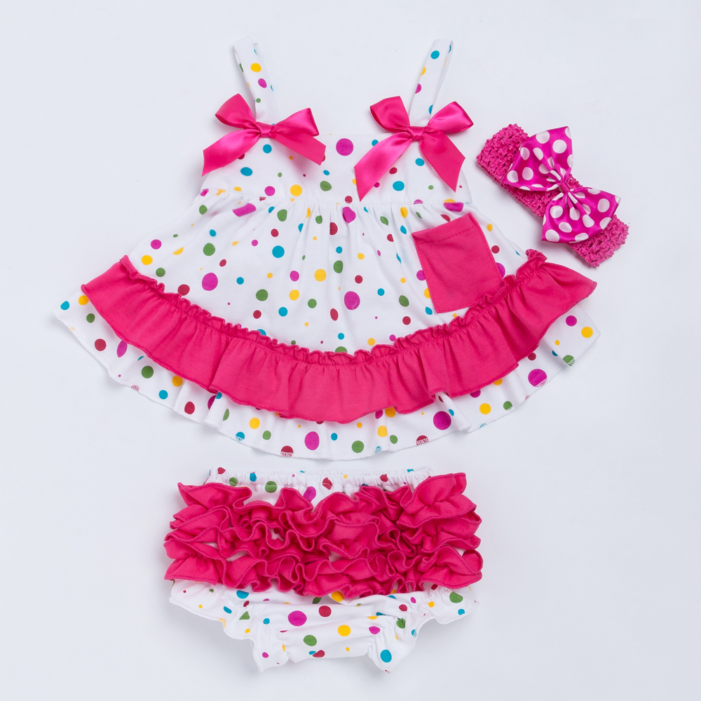 YK Loving colorful Polka Dot Baby Clothes Set Princess Swing Ruffled Bloomer Headband Summer Style Newborn Girl Outfit Costume in Clothing Sets from Mother Kids