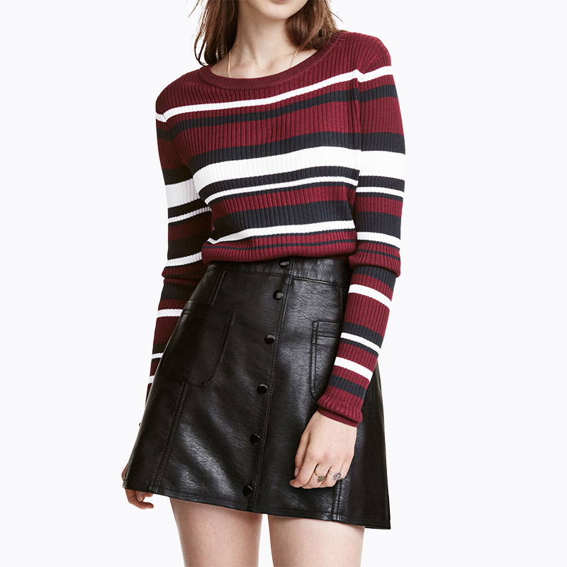 Long sleeve red black <font><b>white</b></font> contrast <font><b>striped</b></font> sweaters women autumn fashion pullover jumpers ladies slim fit cotton <font><b>ribbed</b></font> <font><b>tops</b></font>