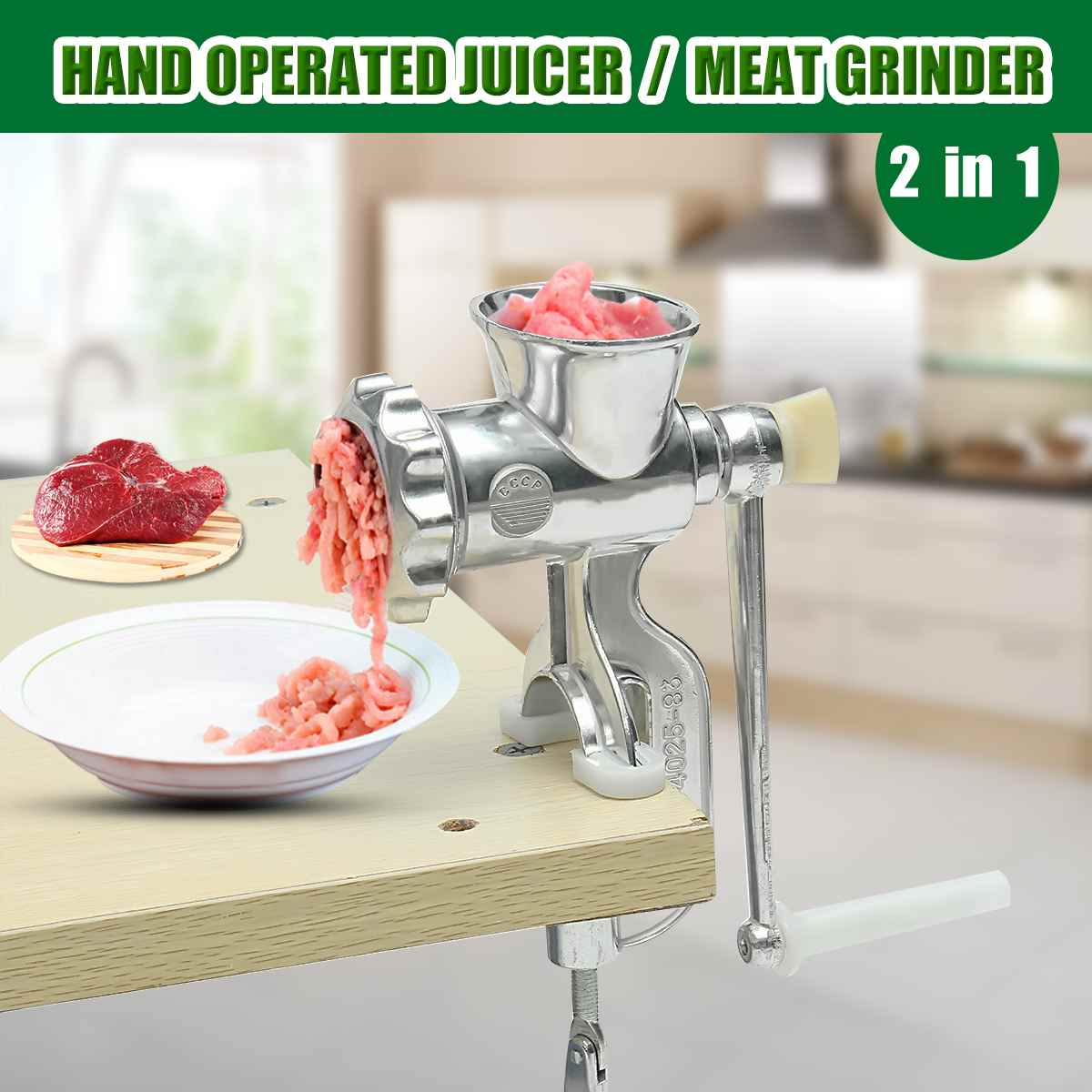 2 In 1 Household Hand Operated Juicer Food Meat Grinder Manual Juice Squeezer Press Extractor Meat Fruit Vegetable Wheatgrass