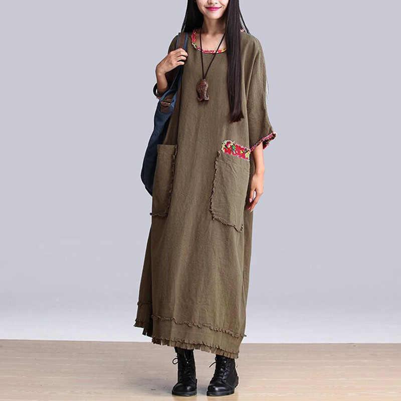 d82957e3c654e9 ... Vintage Tops Kaftan Women's Plus Size Loose Long Sleeve Dresses A-Line  Tassel Maxi Dress ...
