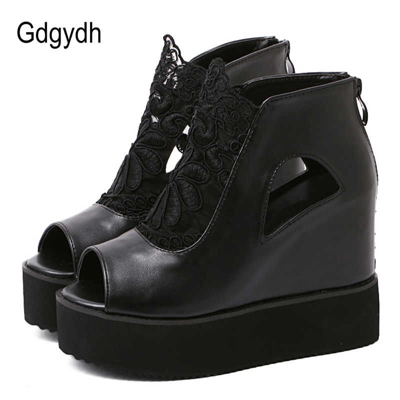 d2b53509b0 Gdgydh Open Toe Summer Boots Woman Spring Summer Shoes Platform Wedges  Fashion Lace Female Footwear Black