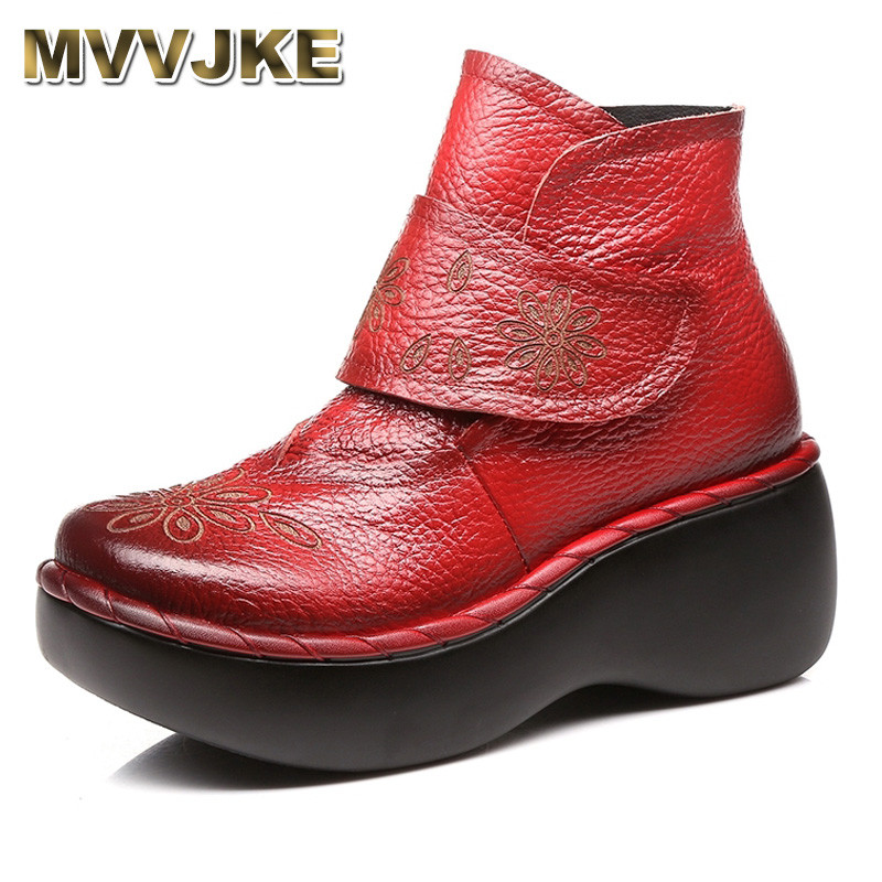 MVVJKE Women Autumn Winter Shoes Genuine Leather Boots Handmade Women Shoes Soft Bottom Ankle Boots With Platform High Heel new autumn winter thick heel boots genuine leather ankle shoes vintage platform shoes handmade women boots lady plus size 35 43