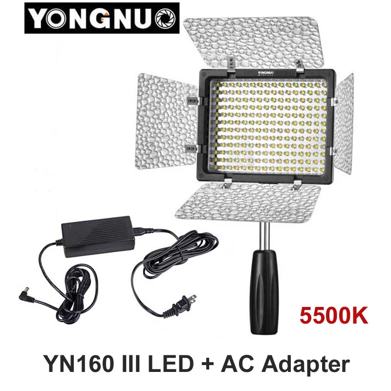 yongnuo yn160 iii 5500k cri95 160 led video light with ac dc power adapter for canon nikon sony