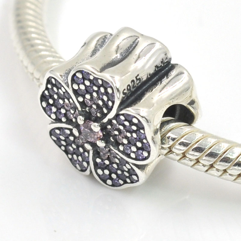 Original 925 Sterling Silver Charms Sparkling Primrose Flower Charm Fits Pandora Bracelets Bangles Diy Jewelry Making In From