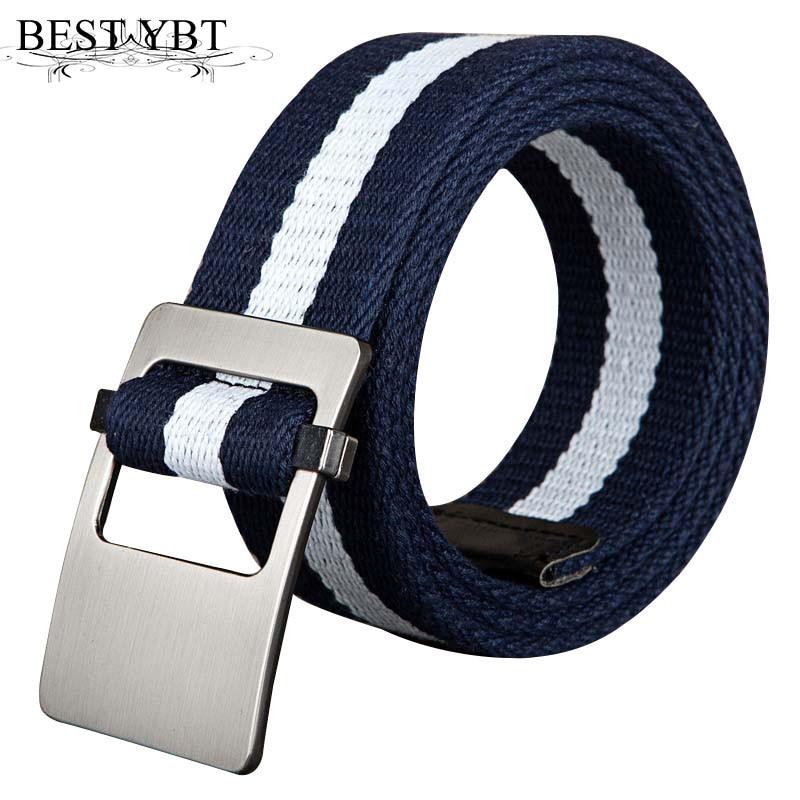 Men's Belts Best Ybt Unisex Canvas Belt Alloy Smooth Buckle All-match Woven Canvas Men Belt Casual Youth Sport Fashion Cowboy Pants Belt