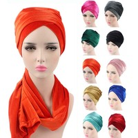 Wholesales Women Fashion Hijab Turban Head Women Velvet Turban Headband Wrap Hijab Extra Long Velvet Tube Head Wrap Scarf