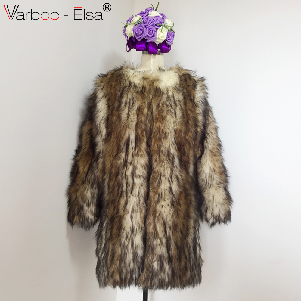 d27606f3b42a VARBOO ELSA Leopard Faux fur coat long female fox fur jacket women winter  jacket Fur Jackets Lapel collar Long Sleeve Loose coat