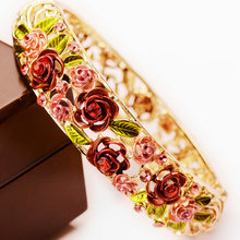 NEW Retro noble Hollow Roses bracelet classic noble manual Color Multicolor bangles Fashion jewelry For women(China)