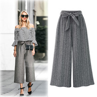 2018 Autumn Winter New Style Stripe Lace up/Ties/Tied Loose Pants Elastics Fashion High waisted Trousers Plus Size