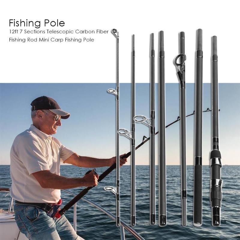 3.6m/12ft 7 Sections Telescopic Carbon Fiber Fishing Rod Mini Carp Fishing Pole Carp Fishing Rod Carbon Feeder Rods Telescopic цена