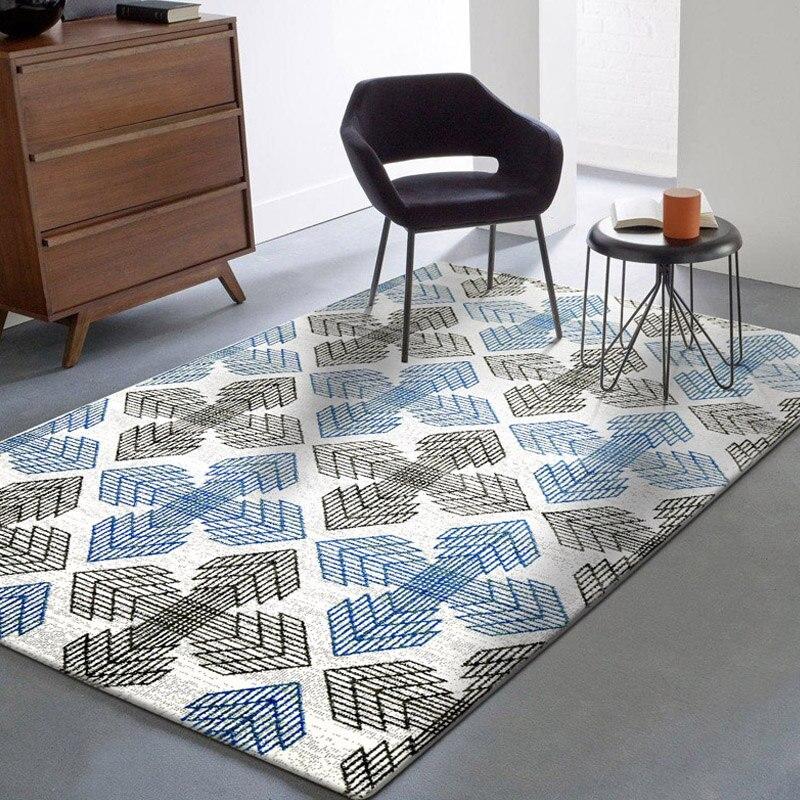 WINLIFE European Geometric Pattern Carpets Graceful Non-Slip Soft Rugs Living Room Tea Table Mats Washable Room Floor Carpets