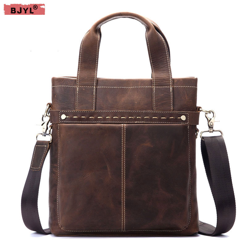 все цены на BJYL Men Genuine leather briefcase Retro Messenger bag men's handbags crazy horse skin leather Shoulder bag онлайн
