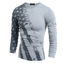 2017 heißer Verkauf verkauf Voll Mode Frühjahr Und Herbst Männer T-shirt Langarm T-shirt American Flag Printed Männer T-shirts Camiseta