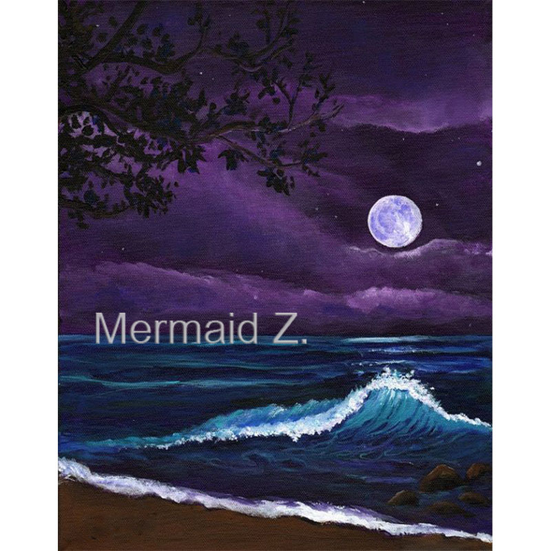 hand-painted oil painting <font><b>moon</b></font> art, Romantic <font><b>Kauai</b></font> Moonlight, beach at night Home Decoration wall living room canvas painting
