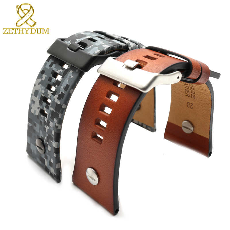 Pulseira de couro genuíno 28mm restaurar pulseira de relógio de couro para diesel com unhas pulseiras cinto camuflagem cor relógio banda