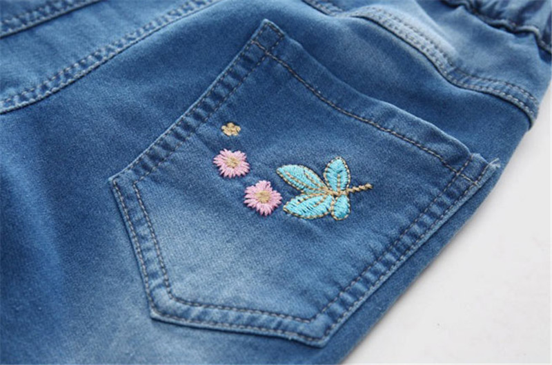 Jiuhehall Spring Children Jeans For Baby Girl Flowers Embroidered Kids Cowboy Pants Children\'s Elastic Waist Trousers CMB970 (7)
