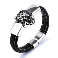 LINSOIR 2017 Fashion Antique Silver Color Lion Charm Bracelet Cuir Men Jewelry Punk Stainless Steel Black