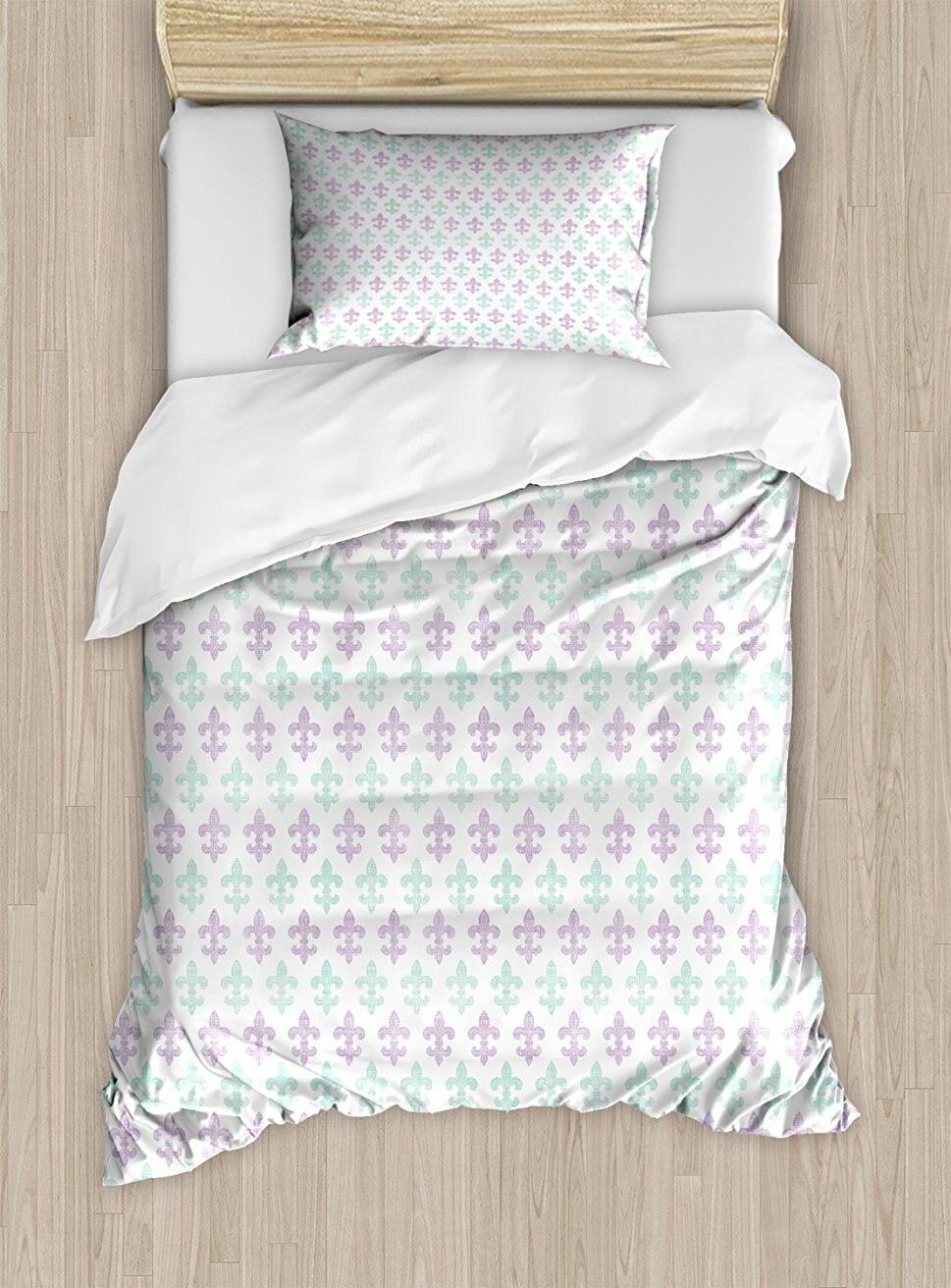 Флер де Лис набор пододеяльников, абстрактные старомодные цветы лилии с гранж вид пастельных цветов, 4 комплект постельного белья