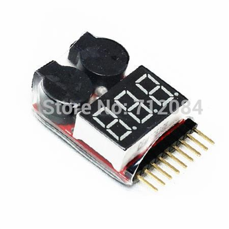 1-8S Lipo/Li-ion/Fe Battery Voltage 2IN1 Tester Low Voltage Buzzer Alarm rc model 2s 3s 4s detect lipo battery low voltage alarm buzzer