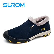 SUROM Brand real leather mens winter snow boots warm Casual Shoes men
