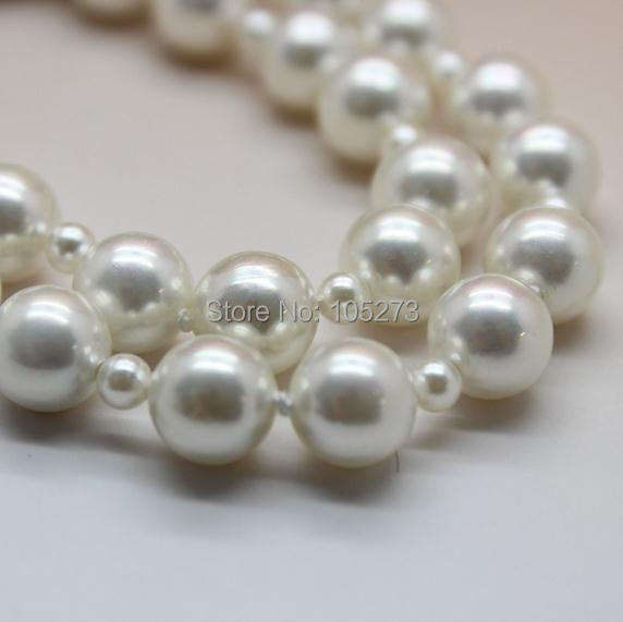 Newest Fashion Shell Jewelry AAA 4-10MM Round Shape White Color Sea Shell Pearl Necklace 160cm Long Pearl Necklace