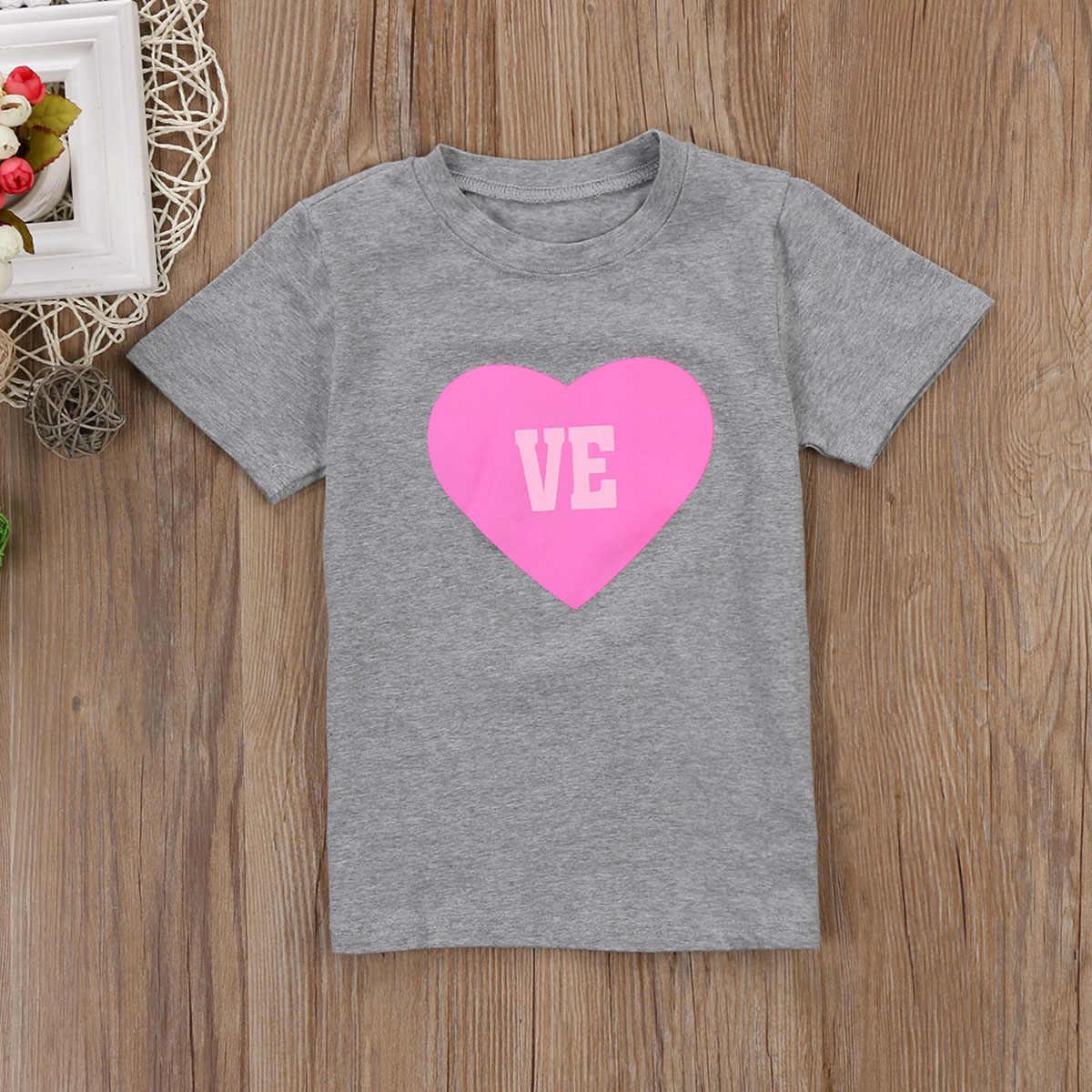 2018 mamá hija bebé niñas familia juego corazón encantador gris camiseta Top ropa de verano