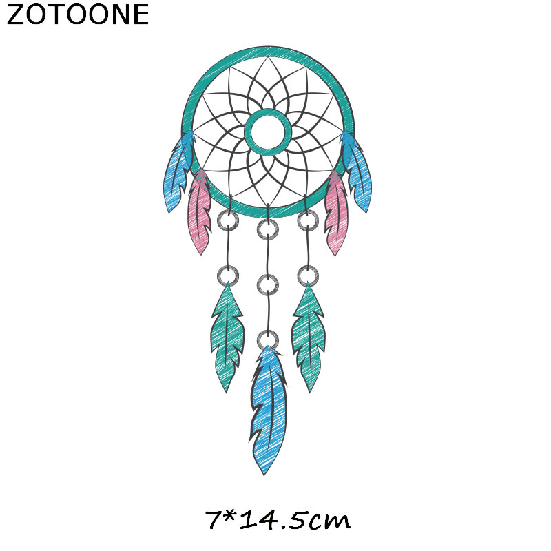 ZOTOONE Dreamcatcher Animal Stickers Unicorn Iron on Patches Transfers for T shirt Heat Transfer DIY Accessory Appliques F1 in Patches from Home Garden