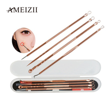 AMEIZII 4Pcs/Set Rose gold Acne Blackhead Stainless Steel Needles Acne Remover Blemish Acne Pimple Cleanser Beauty Kit Tool