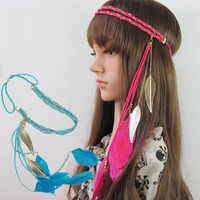 F0029 double wool woven headband chain Color leaf pendant feather hair hoop hair band 5PCS free shipping