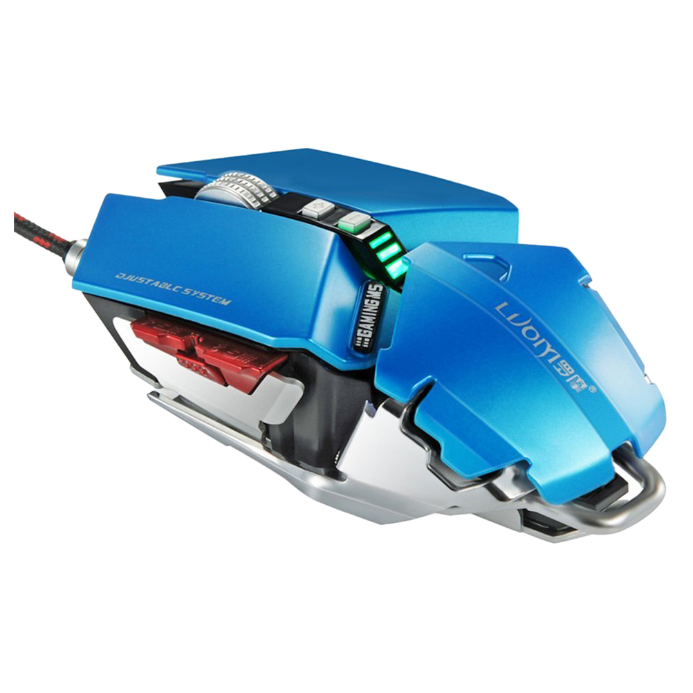 LUOM 4000 DPI 10 Buttons LED Optical USB Wired Professional Gaming Mouse, Mechanical Game Mice - Blue e 3lue 6d mazer ii 2500 dpi blue led 2 4ghz wireless optical gaming game mouse 02