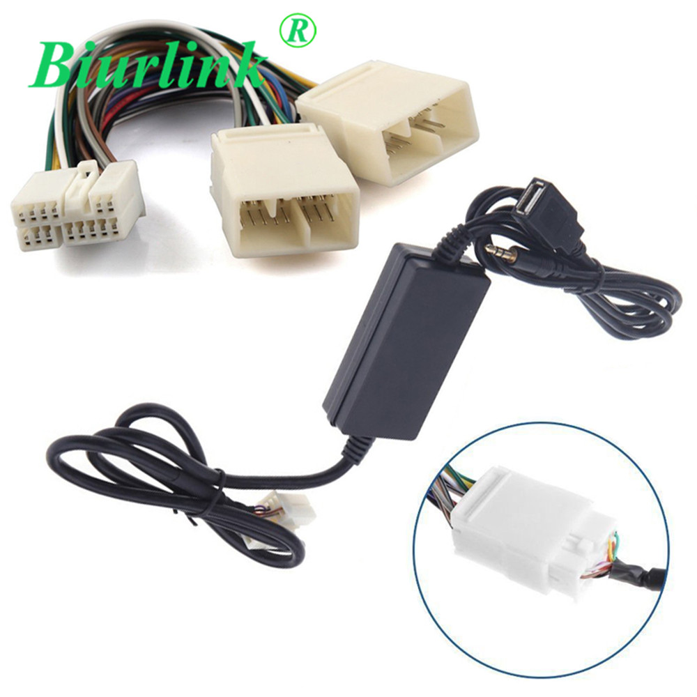 Biurlink Y Spliter Harness AUX USB Input Cable Adapter for Honda Civic Accord Odyssey Original CD