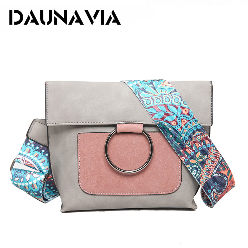 2020 Bohemian Strap Women Crossbody Bag Metal Ring Shoulder Bag Suede Leather Messenger Bag Patchwork Purse Bolsas Feminina Sac