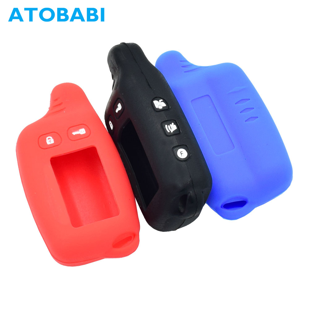 ATOBABI TW9010 Silicone Key Case Remote Cover For Tomahawk TW9020 TW9030 TW-9010 2 Way Car Burglar Alarm System LCD Transmitter