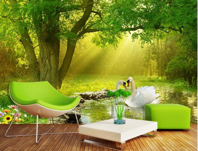 Customize Wallpaper For Walls 3 D Stereoscopic Wallpaper Forest Swan Stream Wall  Mural Wallpaper Wall Papers Part 54