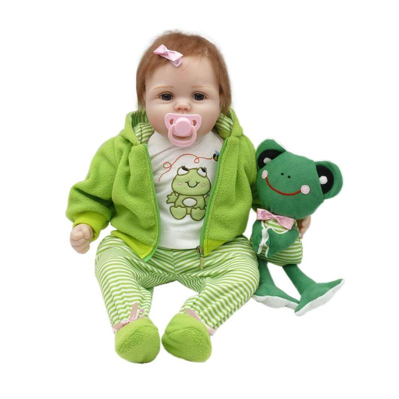 Cute Reborn Baby Emulated Soft Silicone Toys Kids Playmate Gift Lovely Frog Pajamas Pretend Play Accompany Doll For Children happy dollhouse family dolls small wooden toy set figures dressed characters children kids playing doll gift kids pretend toys