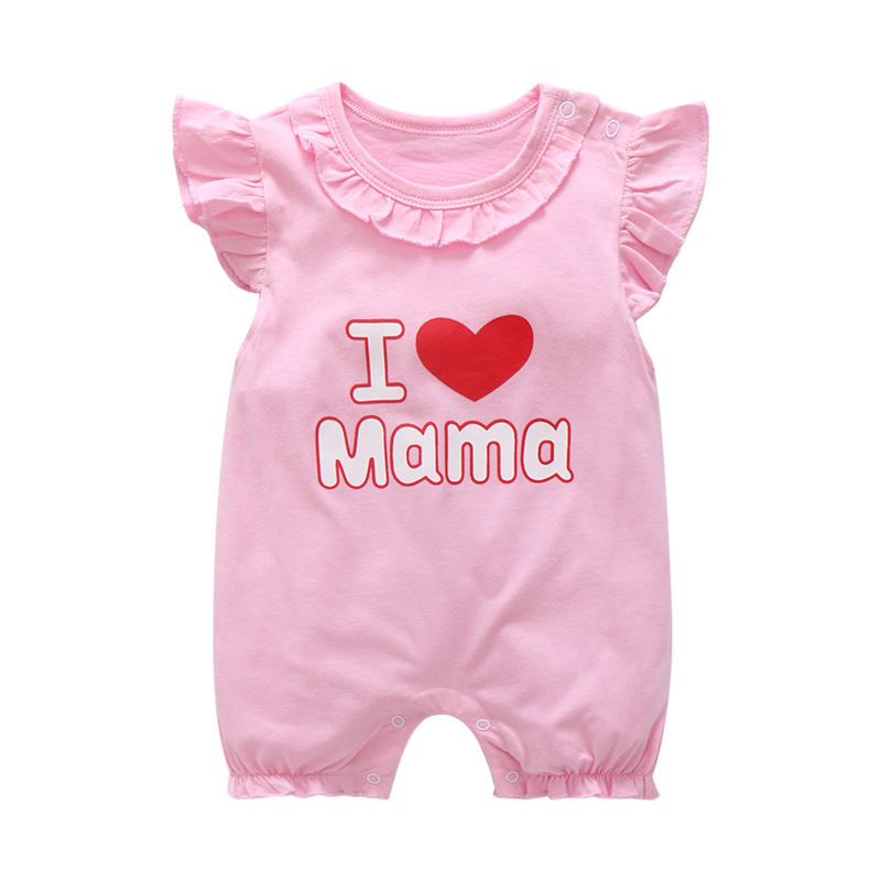 Baby Girl Clothes 2019 Summer New Newborn Baby Casual Cotton Romper Love Mama Print Baby Girl Jumpsuit