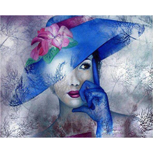 5D Diy Diamond Painting Cross Stitch full Square Round Embroidery Hat beauty picture for wall room Decor H864