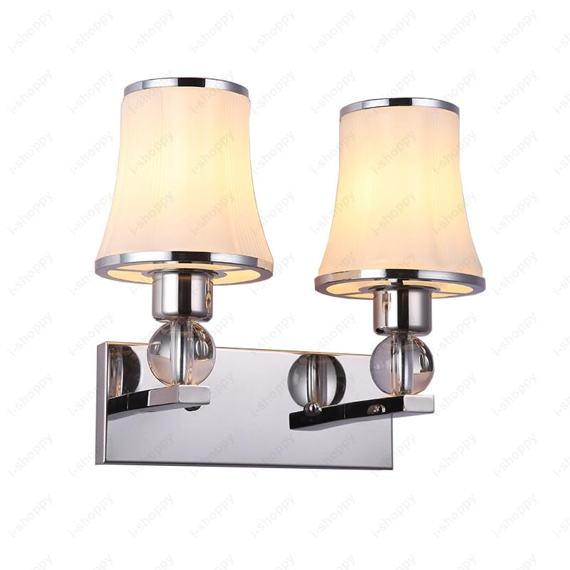 Dual-head 6W/10W/14W LED Wall Sconces Light E27 Bulb Lamp Fixture Glass Lampshade Reading Room Hotel Hallway
