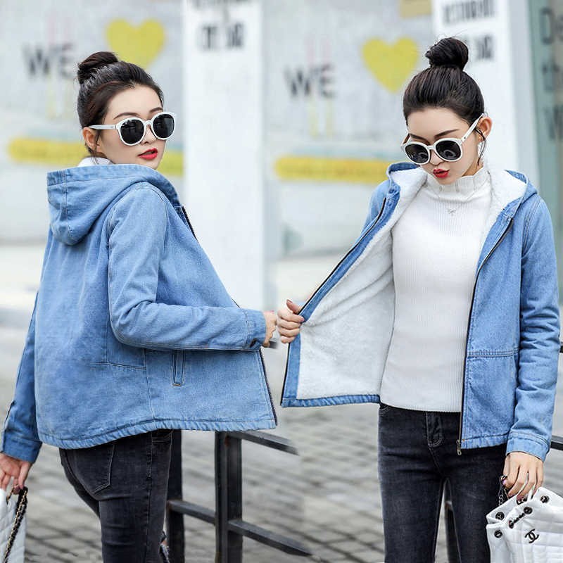 Warm Winter Denim Jacket for Women new 2019 Hooded Female jacket Fashion Casual Girls Jackets warm Jeans Coat Female basic tops