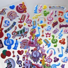 2 Sheet cute musical note Diary Decoration Kids Stickers 3D popular stickers Baby Gift Children Toys