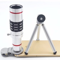 Universal Clip 4K 18X Zoom Lens Telescope Telephoto Camera Phone Lenses Tripod Aluminum Shell For IPhone