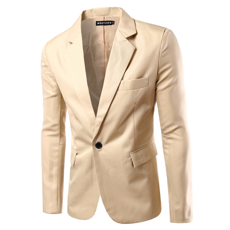 Hot Mens 2 Button Beige Casual Blazer Premium Slim Cotton Suit Jacket Dress Coat