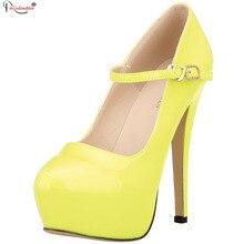 2016 Sexy Round Toe High Heels Spring Autumn Fashion Dress Shoes Women Brand Ladies Elegant Slip On Platform Pumps SMYNLK-DA0079