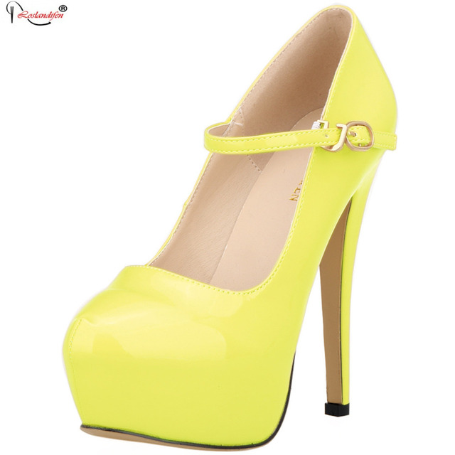 2016 Sexy Round Toe High Heels Spring Autumn Fashion Dress Shoes Women Brand Ladies Elegant Slip On Platform Pumps SMYNLK-DA0079
