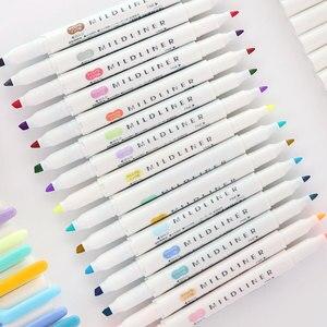 Image 5 - 3 adet veya 5 adet/takım zebra mildliner renk japon kırtasiye çift başlı floresan kalem kanca kalem renk işaret kalemi kawaii